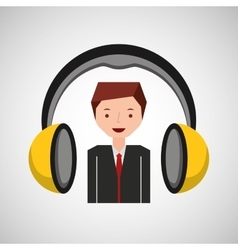 headphones music cartoon businessman vector image