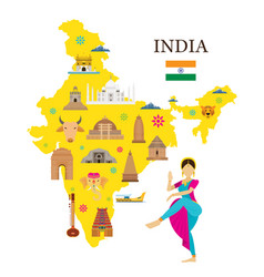 India map and architecture landmarks icons vector