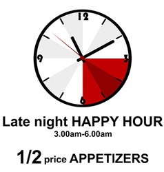 Late night happy hour for pubs vector