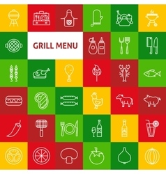 Line grill menu icons vector
