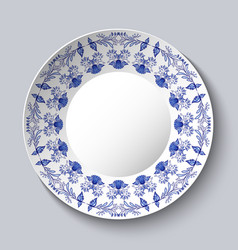 Ornamental porcellaneous plate with a blue pattern vector
