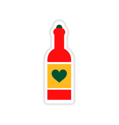 Paper sticker on white background heart bottle vector