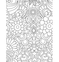 pattern flower coloring for adults vector image vector image