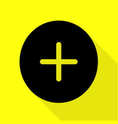 Positive symbol plus sign black icon with flat vector