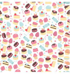seamless pattern with cute cakes seamless pattern vector image vector image