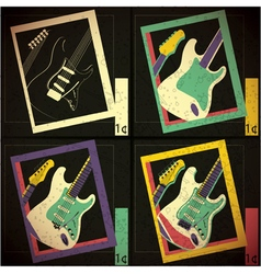 Set of four Guitars in frame vector image vector image