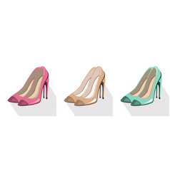 sexy lady shoes pumps set colorful summer vector image