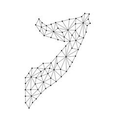 somalia map of polygonal mosaic lines network ray vector image vector image