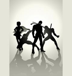 superheroes teams up vector image vector image