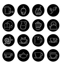tea thin line icons set in black and white vector image