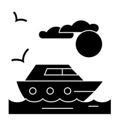 travel sea yacht icon sig vector image vector image