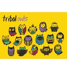 Tribal colorful owl set vector