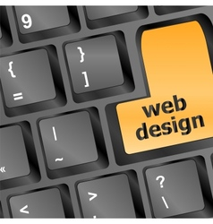 Web design text on a button keyboard vector