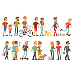 women and men in various lifestyles cartoon vector image vector image