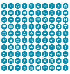 100 construction icons sapphirine violet vector