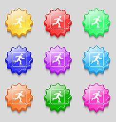 roller skating icon sign symbol on nine wavy vector image