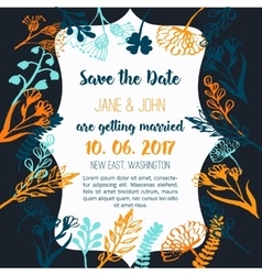 Wedding invitation with flowers rustic design on vector