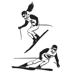 Two skiers on track vector