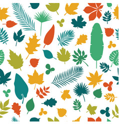 Seamless pattern with colored leaves autumn vector