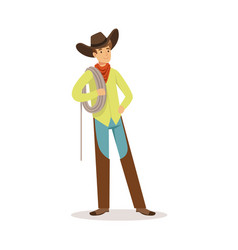 Cowboy standing and holding a rope over his vector