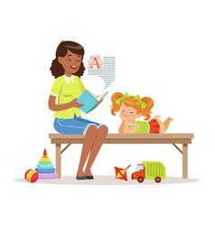 Teacher reading a book to little girl while vector