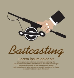 Fishing rod in hand eps10 vector