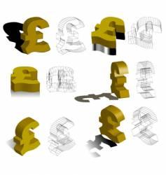 3d symbols pounds vector