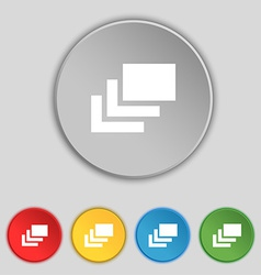 Layers icon sign symbol on five flat buttons vector