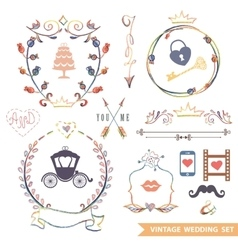 Cute retro floral set with doodle decorwedding vector
