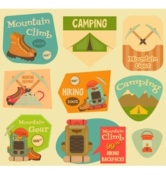 Mountain climbing stickers vector
