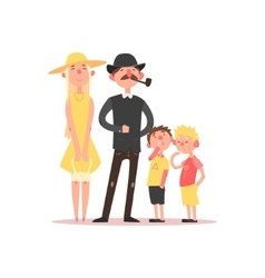 Family with parents wearing hats vector