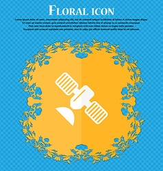 Satellite icon floral flat design on a blue vector