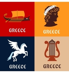 Greece culture history and mythology icons vector