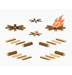 Low poly campfire and firewood vector