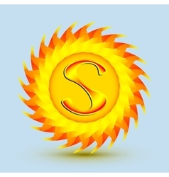 The logo is a sun with the letter s vector