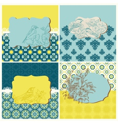 Set of Cards - Vintage Tiles and Birds vector image