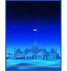 Ancient arab town at night vector