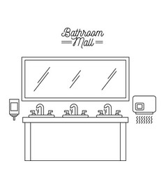 bathroom mall sink mirror hand dryer and soap vector image