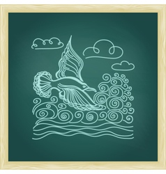 bird seagull sky and waves vector image