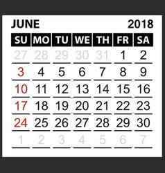 Calendar sheet june 2018 vector