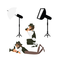 cartoon photographers and equipment set vector image vector image