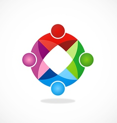 circular geometry color teamwork logo vector image