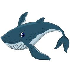 Cute blue whale cartoon vector