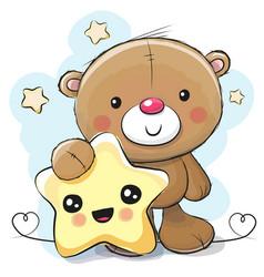 cute cartoon teddy bear with star vector image vector image