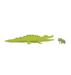 Cute crocodile and frog aligator cartoon vector
