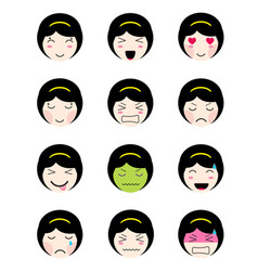Cute emoji collection kawaii asian girl face vector