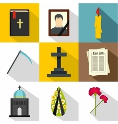 Death of person icons set flat style vector