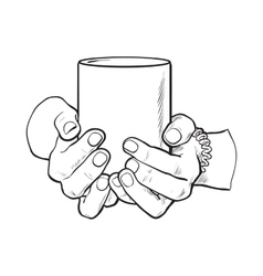 female hand holding a cup with hot beverage vector image vector image