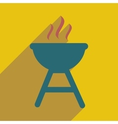 Flat icon with long shadow american bbq vector