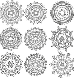 Floral patterns in the form mandala vector image